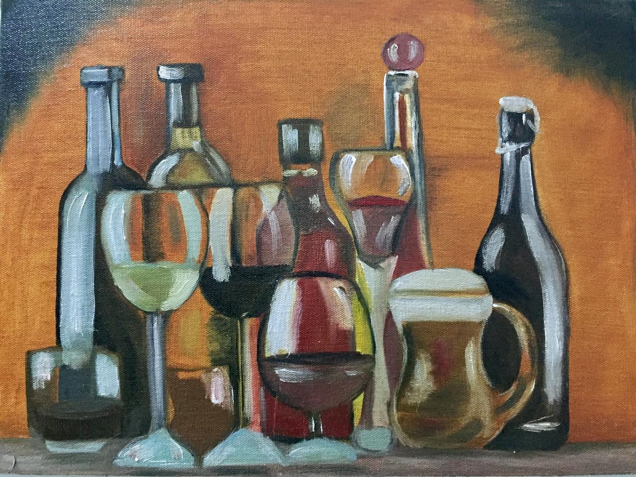 Buy Wine Bottles Handmade Painting By Nithya Gopal Code Art 4154 27516 Paintings For Sale Online In India