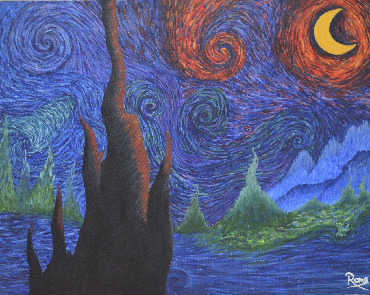 Buy Artists Impression Of The Starry Night Handmade Painting By