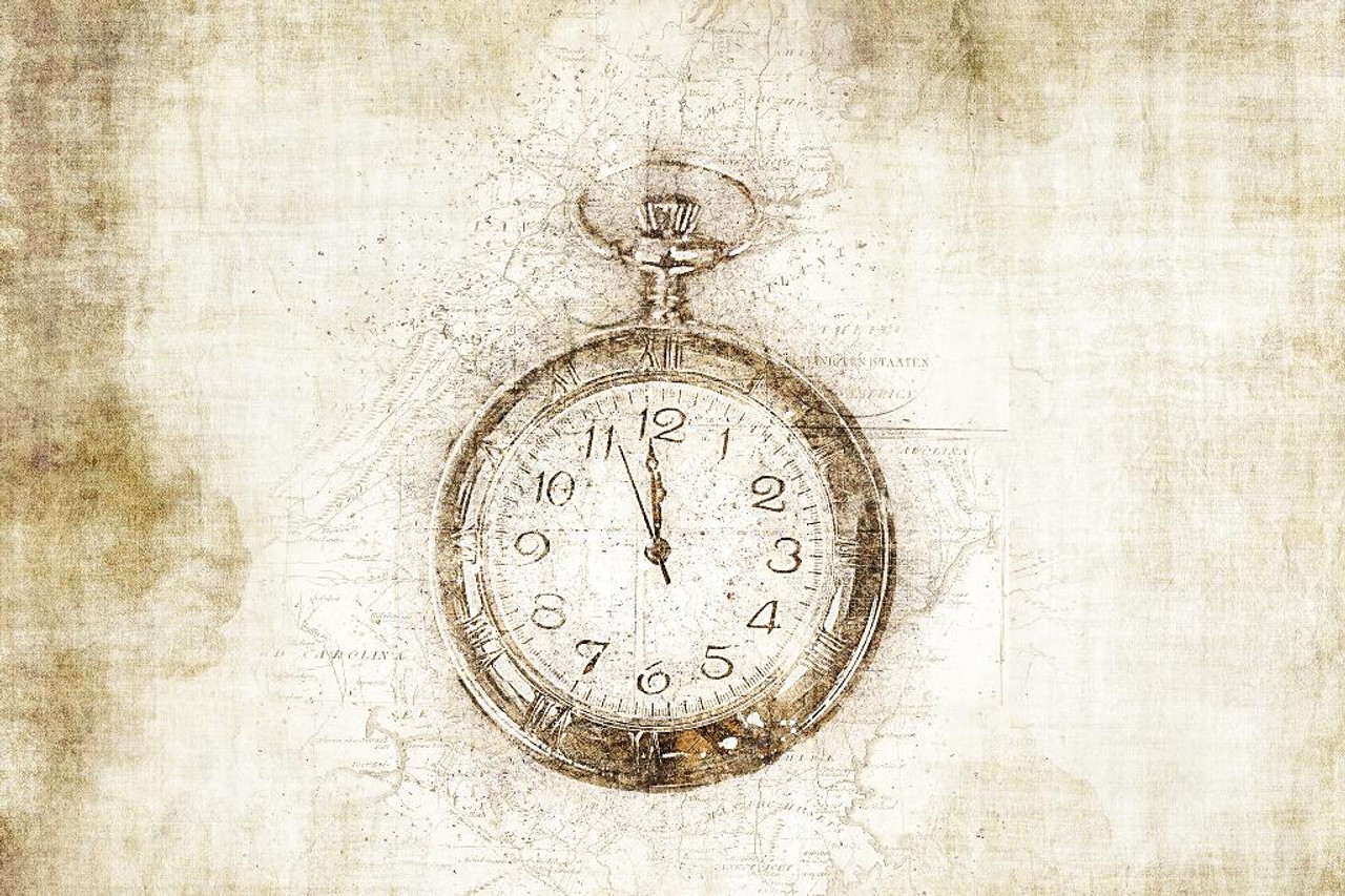 Retro Clock (PRT_463) - Canvas Art Print - 32in X 21in