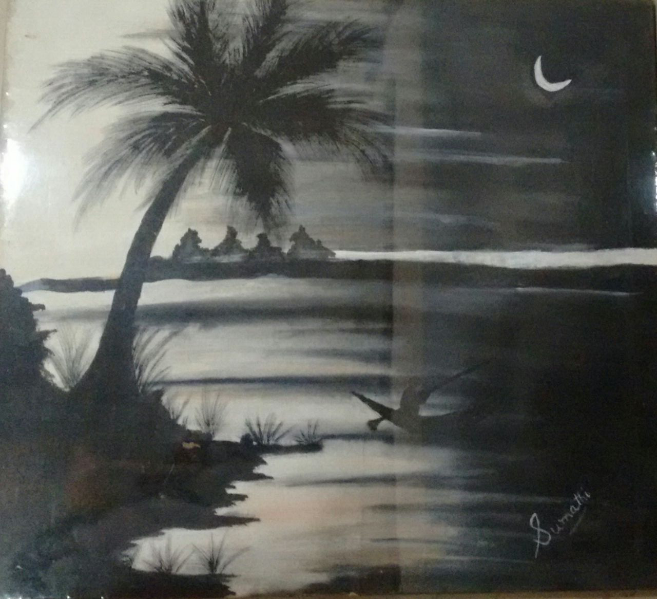 Buy black and white land scape handmade painting by s sivaranjani sumathi codeart 4773 28437 paintings for sale online in india