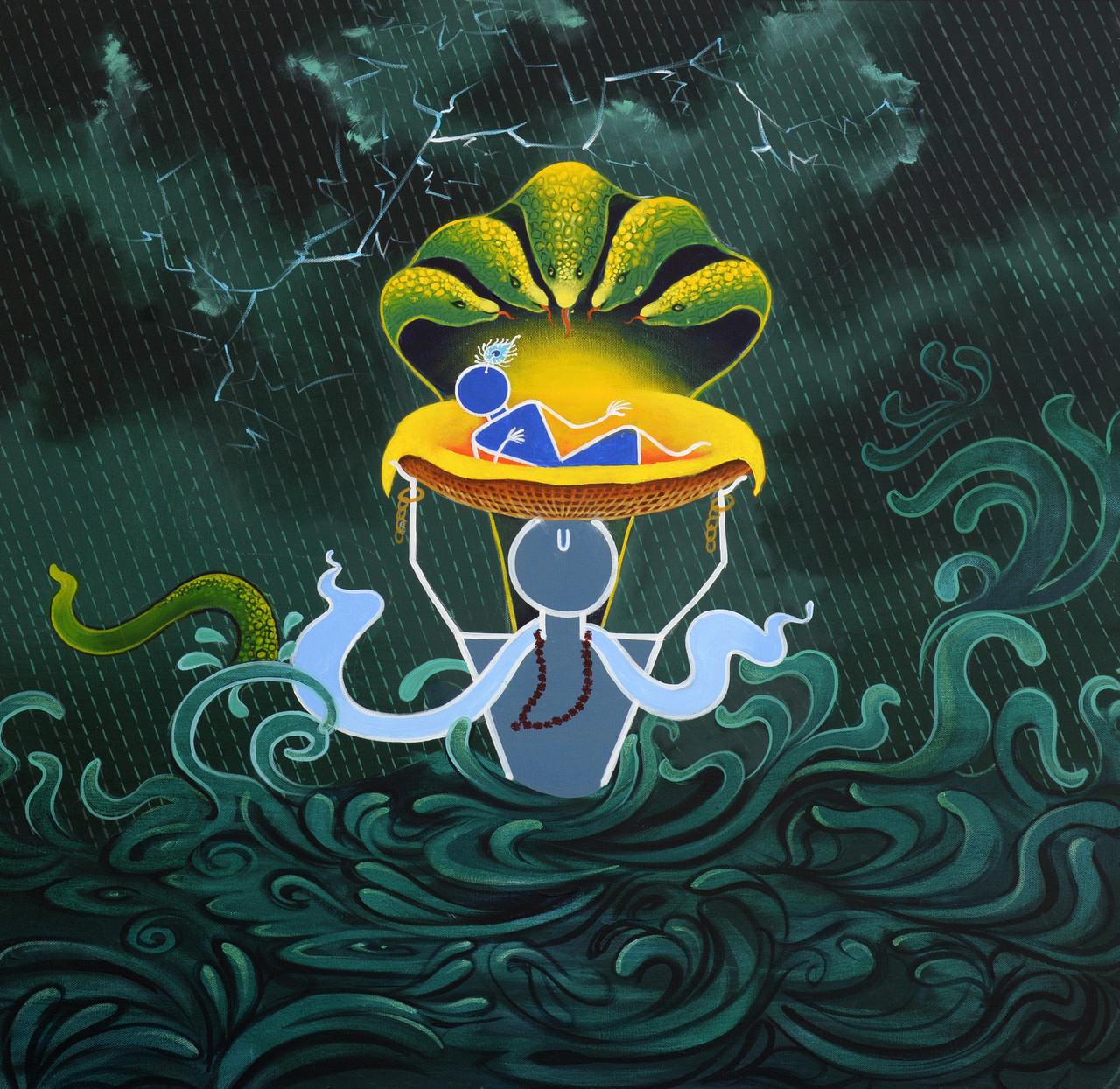 Krishna Series (ART_4711_28245) - Handpainted Art Painting - 36in X 36in