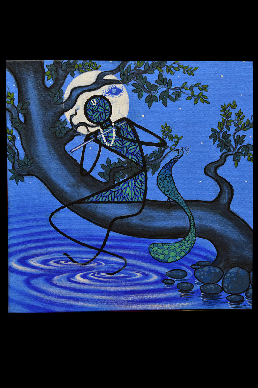 Krishna Series (ART_4711_28134) - Handpainted Art Painting - 18in X 18in