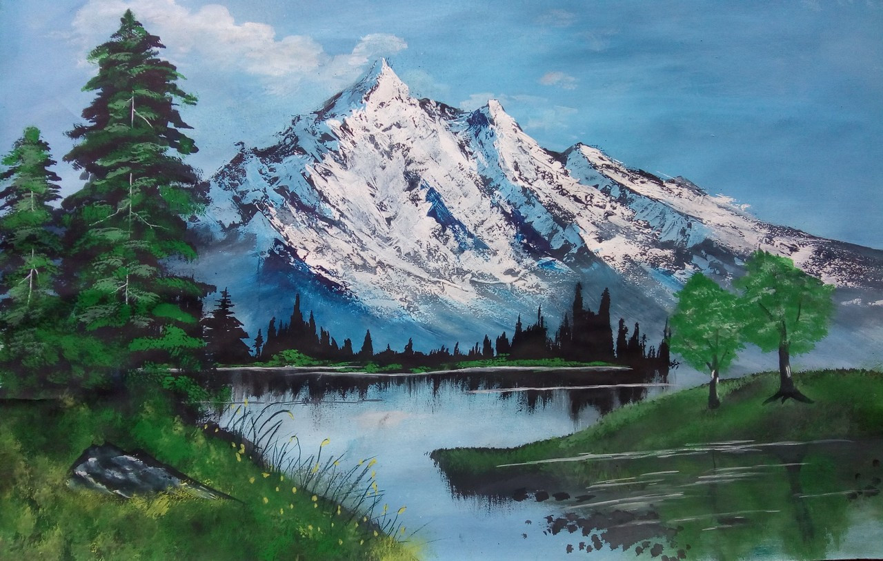 70a2b24d6 Snow fall on Mountain (ART_3335_29600) - Handpainted Art Painting - 22in X  15in