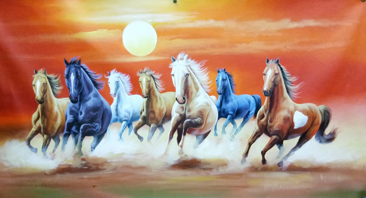 Buy 7 Horses Running In A Desert Handmade Painting By Artoholic Code Art 3319 29472 Paintings For Sale Online In India
