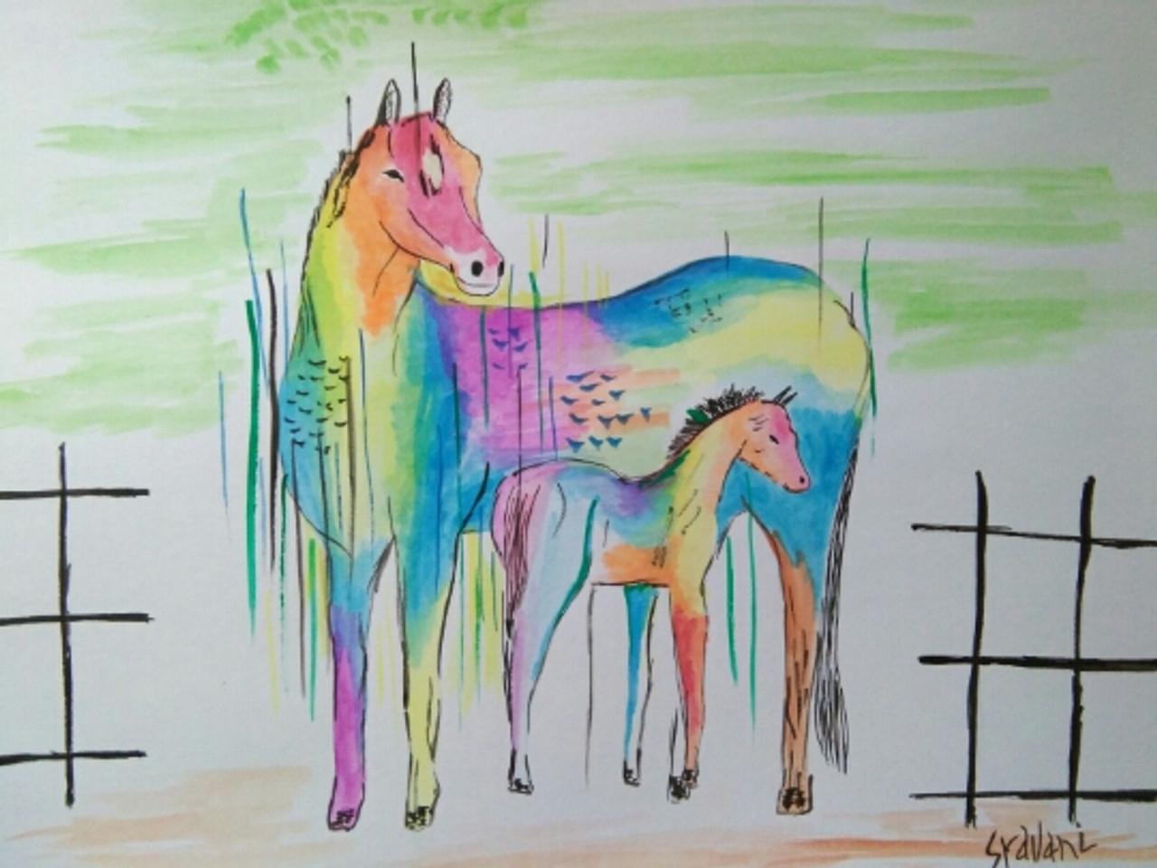 Buy Rainbow Horse Handmade Painting By Sravani Somayajula Code Art 4974 29697 Paintings For Sale Online In India
