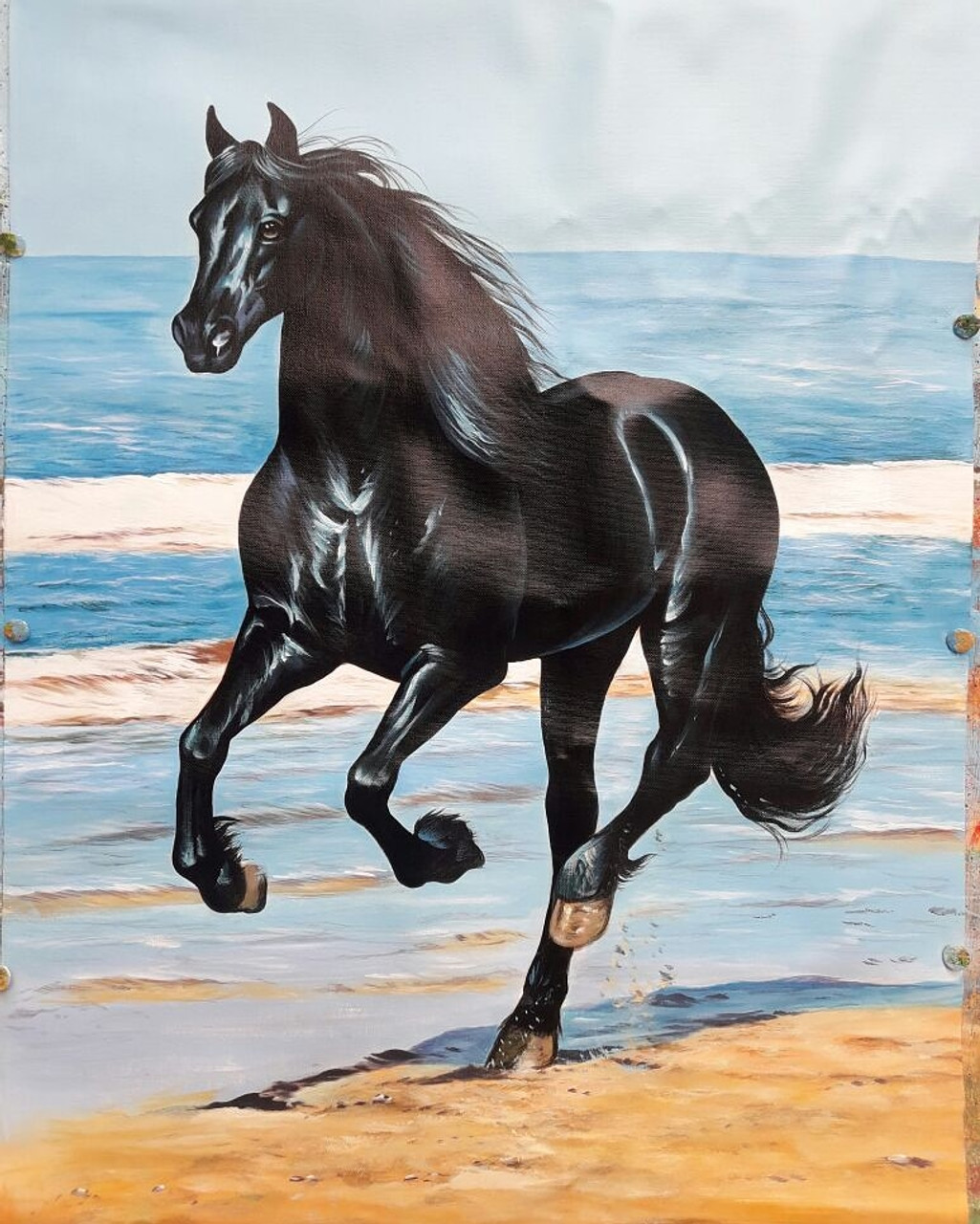 Buy Black Beauty Running Horse Handmade Painting By Artoholic Code Art 3319 29724 Paintings For Sale Online In India
