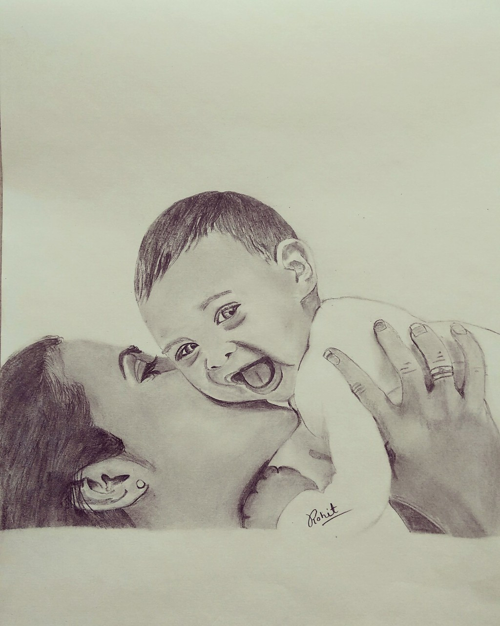 Pencil sketch of mother and child art 5177 29999 handpainted art painting 9in x