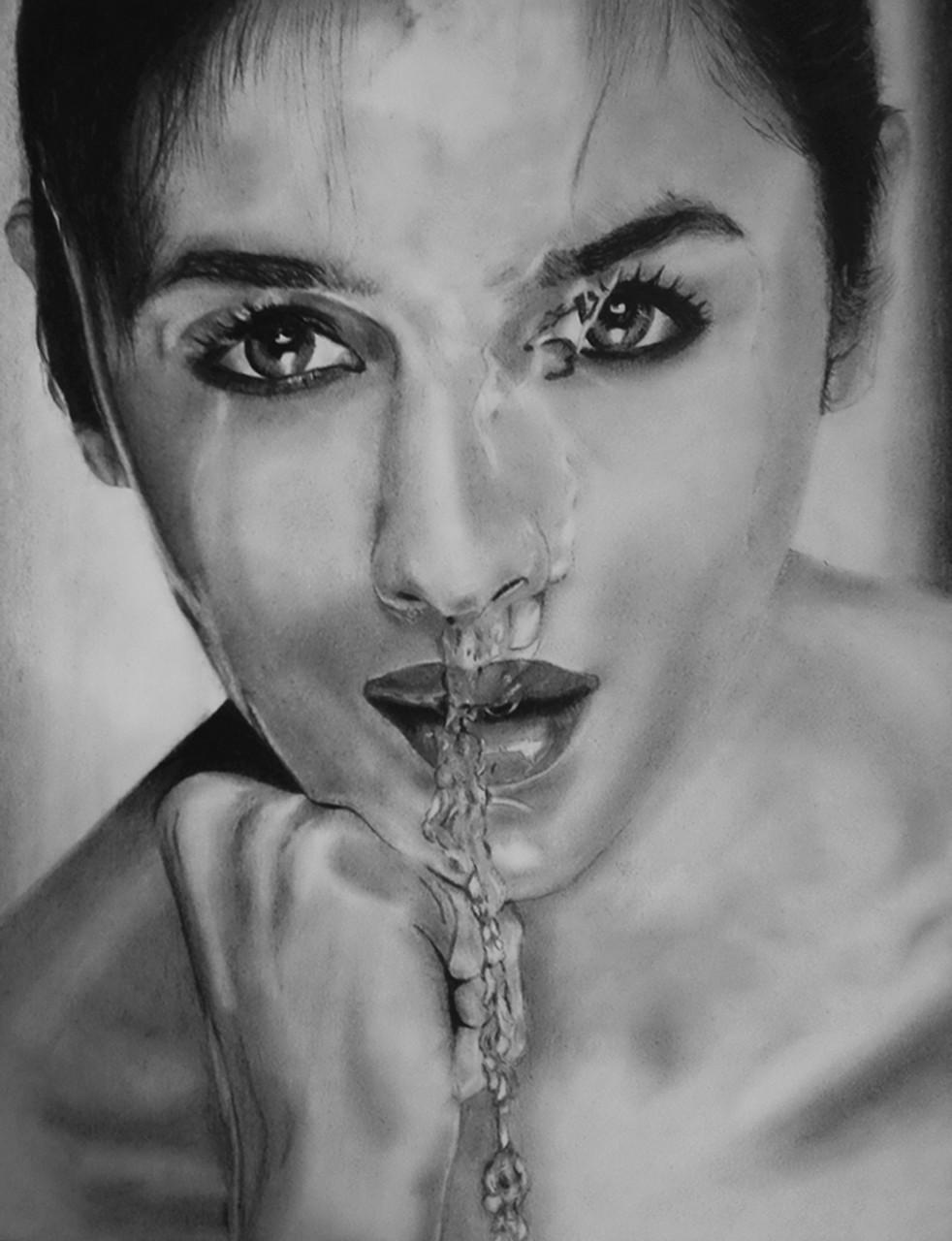Alia bhatt graphite pencil drawing art 5097 29866 handpainted art painting 10in x 11in