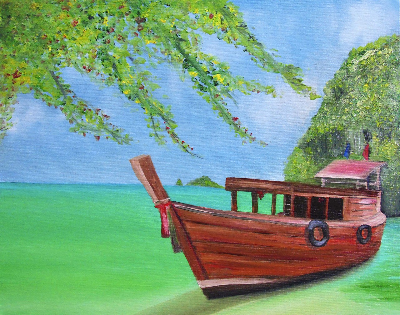 Thailand Beachview Oil Painting (ART_5097_30599) - Handpainted Art Painting  - 22in X 18in (Framed)