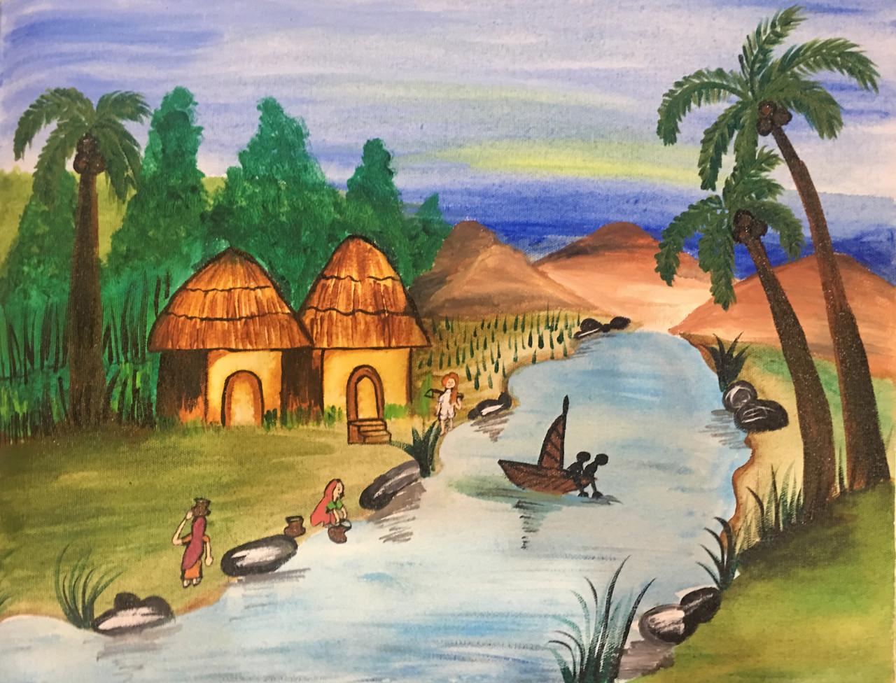 Kerala village (ART_4320_32062) - Handpainted Art Painting - 18in X 14in