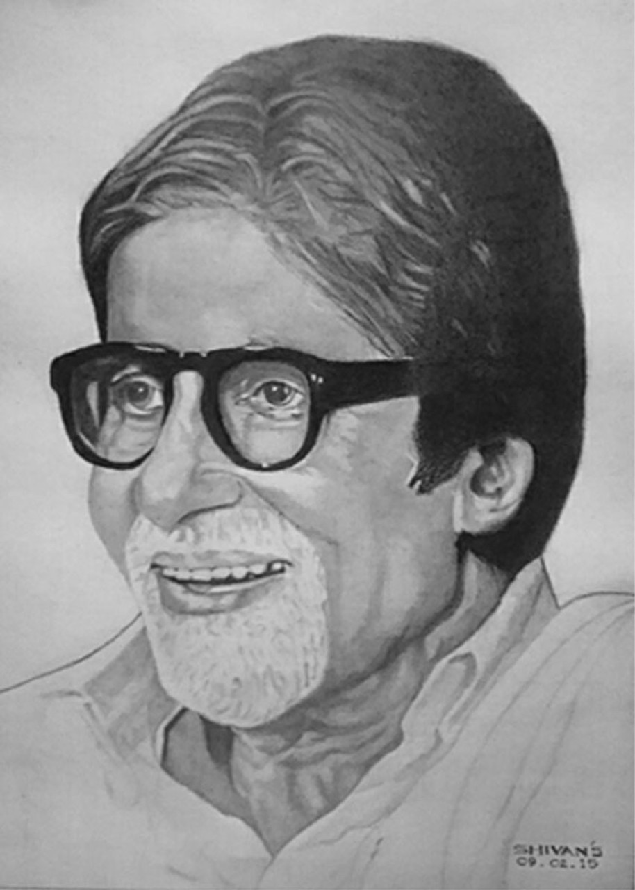 Buy shahenshah of bollywood film industry amitabh bachchan handmade painting by shivkumar menon codeart 1377 11506 paintings for sale online in india