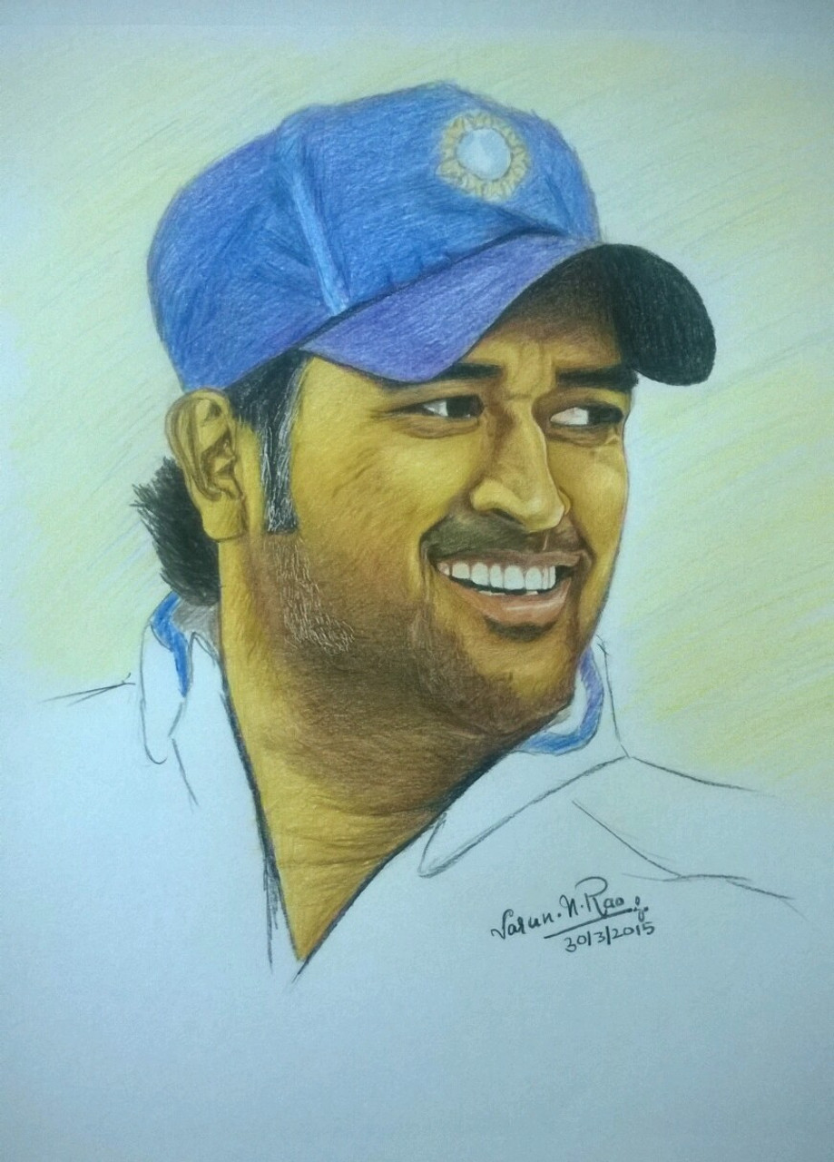 Buy oil based color pencil portrait ms dhoni handmade painting by varun n rao codeart 4415 27047 paintings for sale online in india
