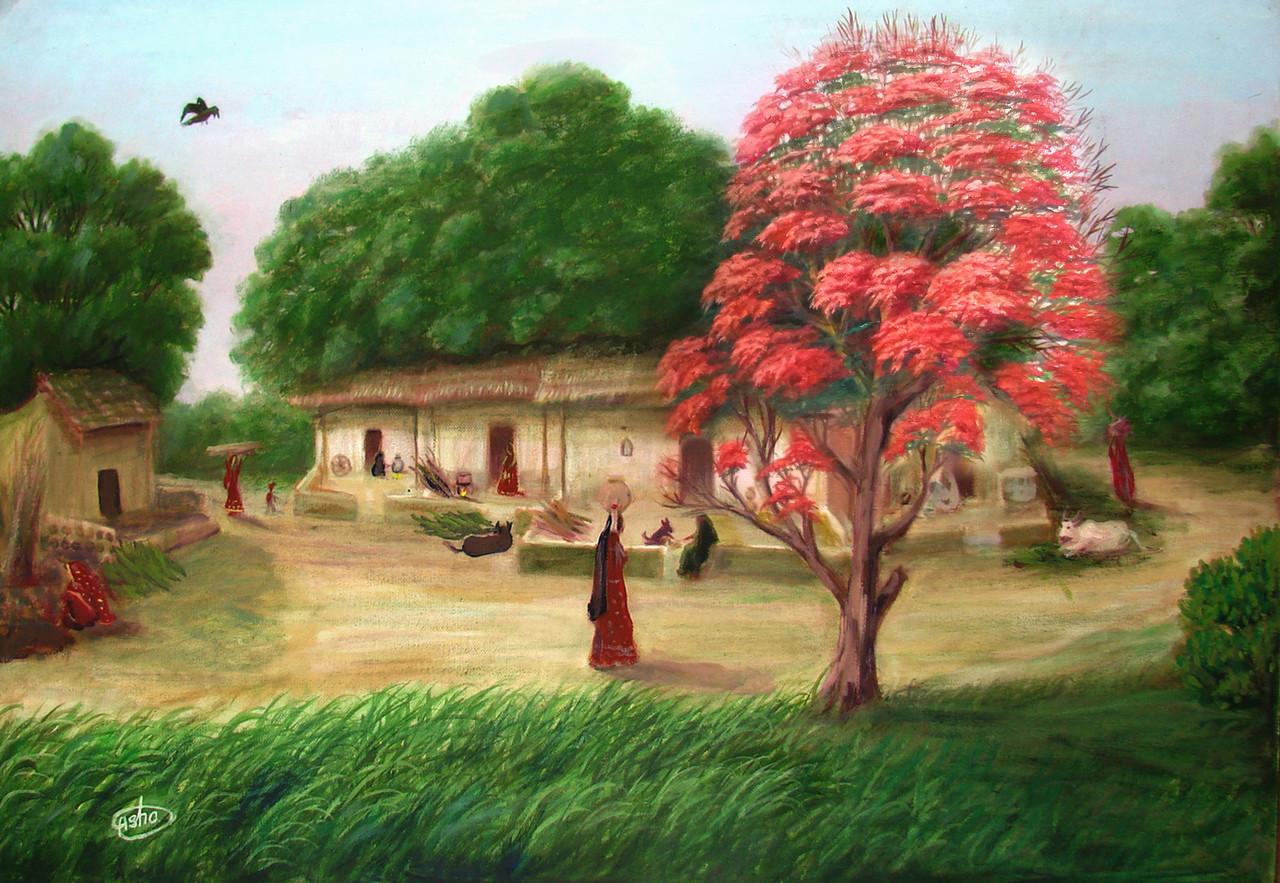 Buy Indian Village with orange flower tree Handmade ...Beautiful Indian Village Paintings