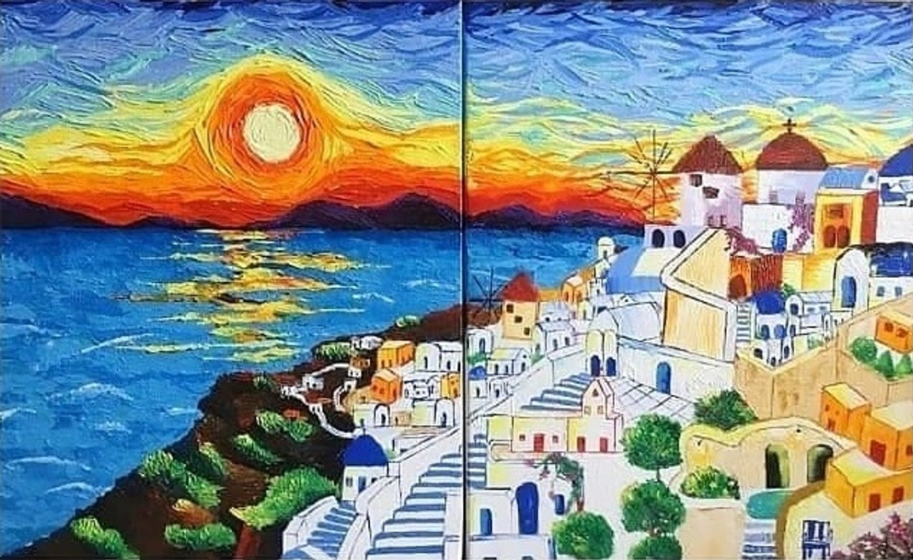 Santorini Sunset Diptych Art 4471 33046 Handpainted Art Painting 32in X 20in