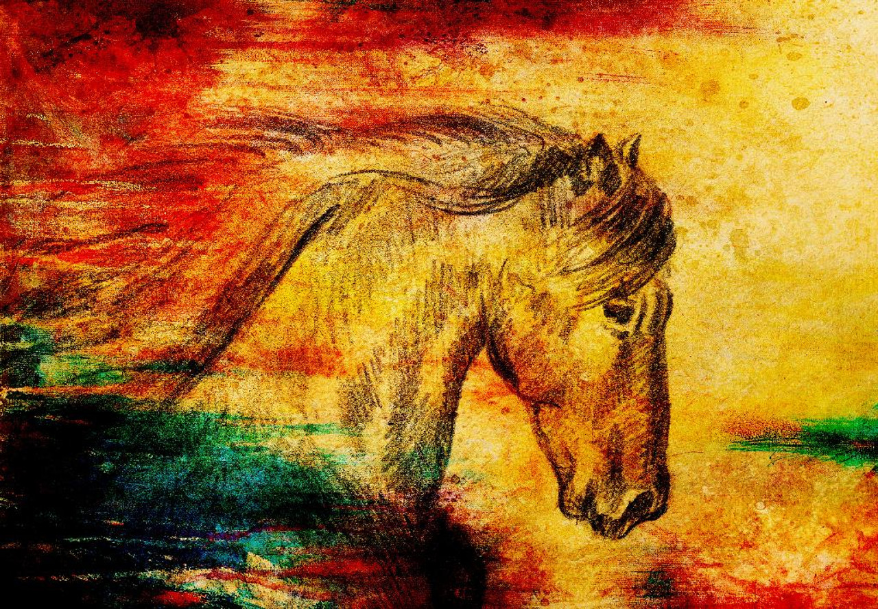 Shop Abstract Horse On Old Paper Prt 968 Canvas Art Print 26in X 18in Canvas Art Print Online