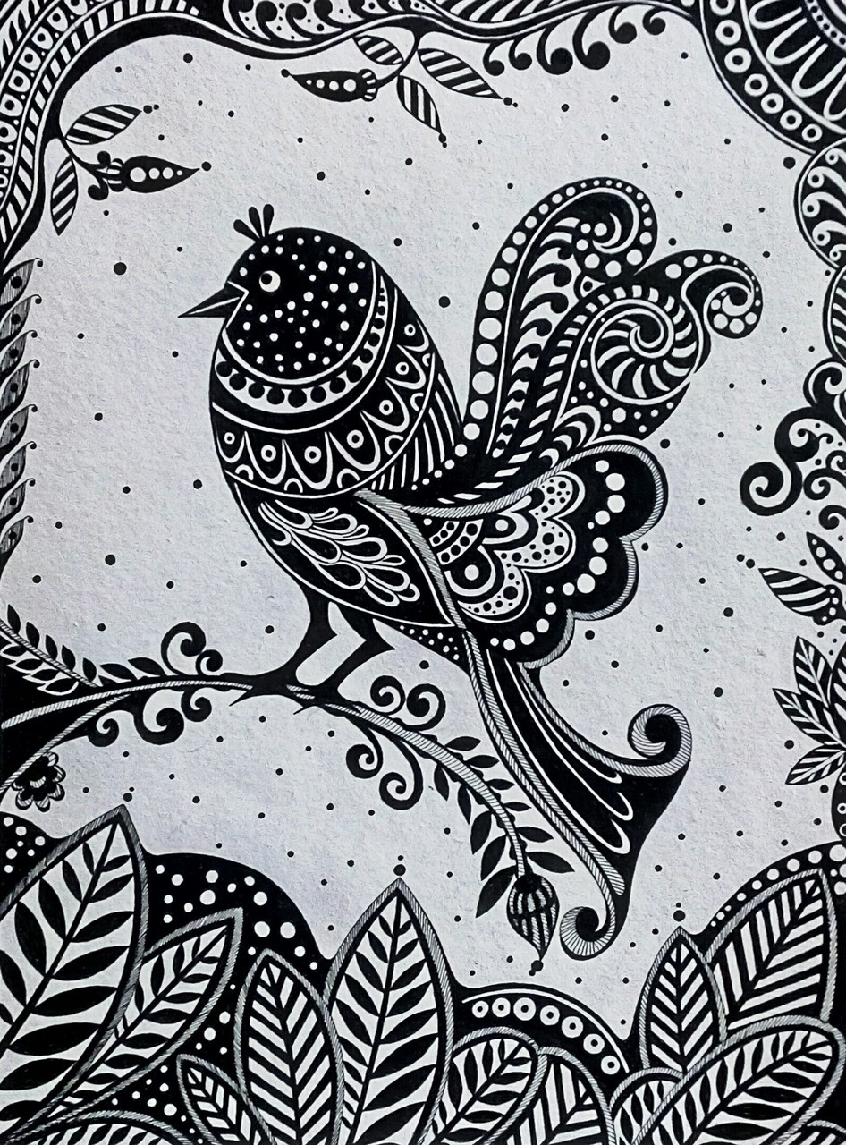 Buy bird in black white handmade painting by shreyashi bhattacharya codeart 5922 34519 paintings for sale online in india