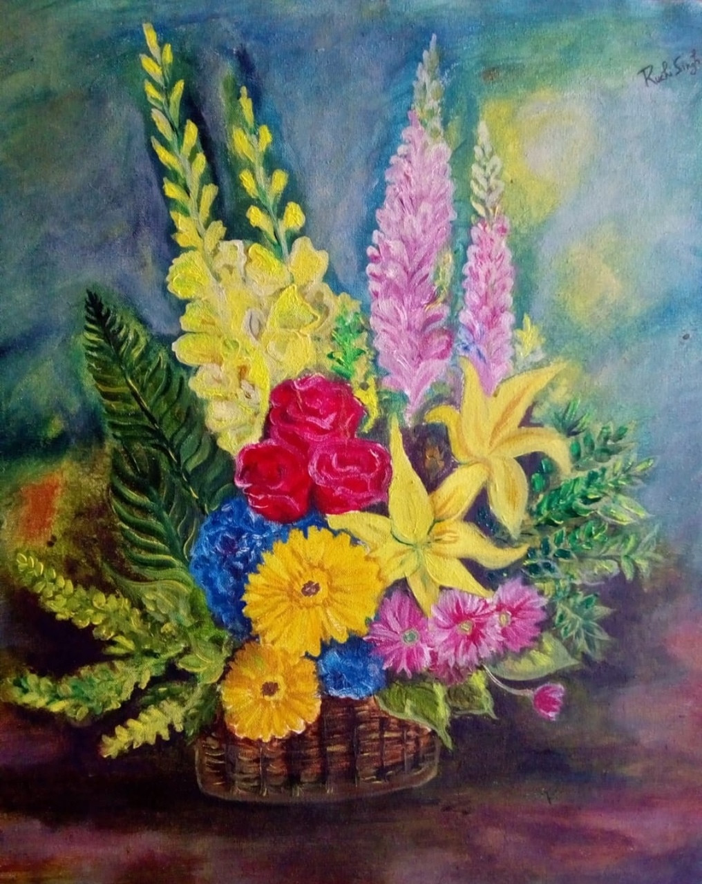 Buy Flower Vase Handmade Painting by RUCHI SINGH. CodeART_4433_34963 - Paintings for Sale online in India. & Buy Flower Vase Handmade Painting by RUCHI SINGH. Code ...