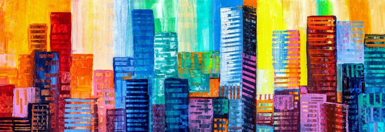 Rainbow City Canvas Print 20*30 Inch HUGE !