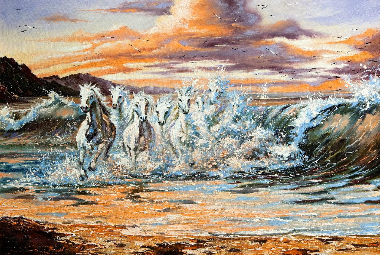 Shop 7 White Horses Running On The Beach Prt 1060 Canvas Art Print 28in X 19in Canvas Art Print Online