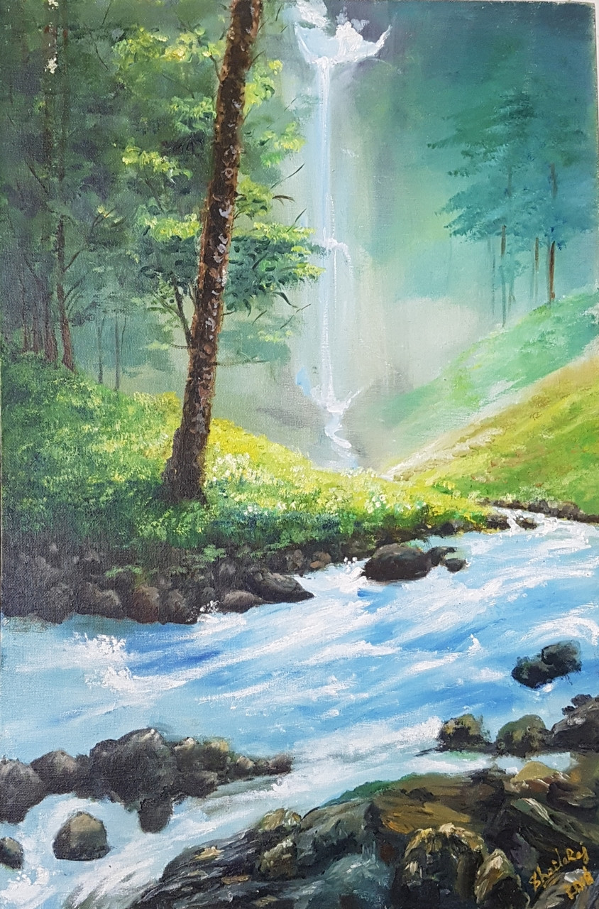 Cascading Waterfall Forest SINGLE CANVAS WALL ART Picture Print