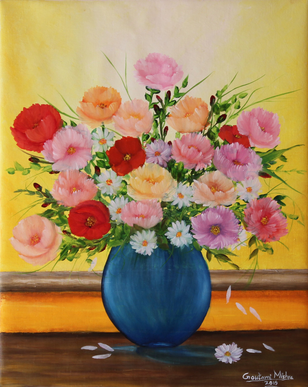 Fizdi.com & Flower Vase (ART_976_35632) - Handpainted Art Painting - 16in X 20in