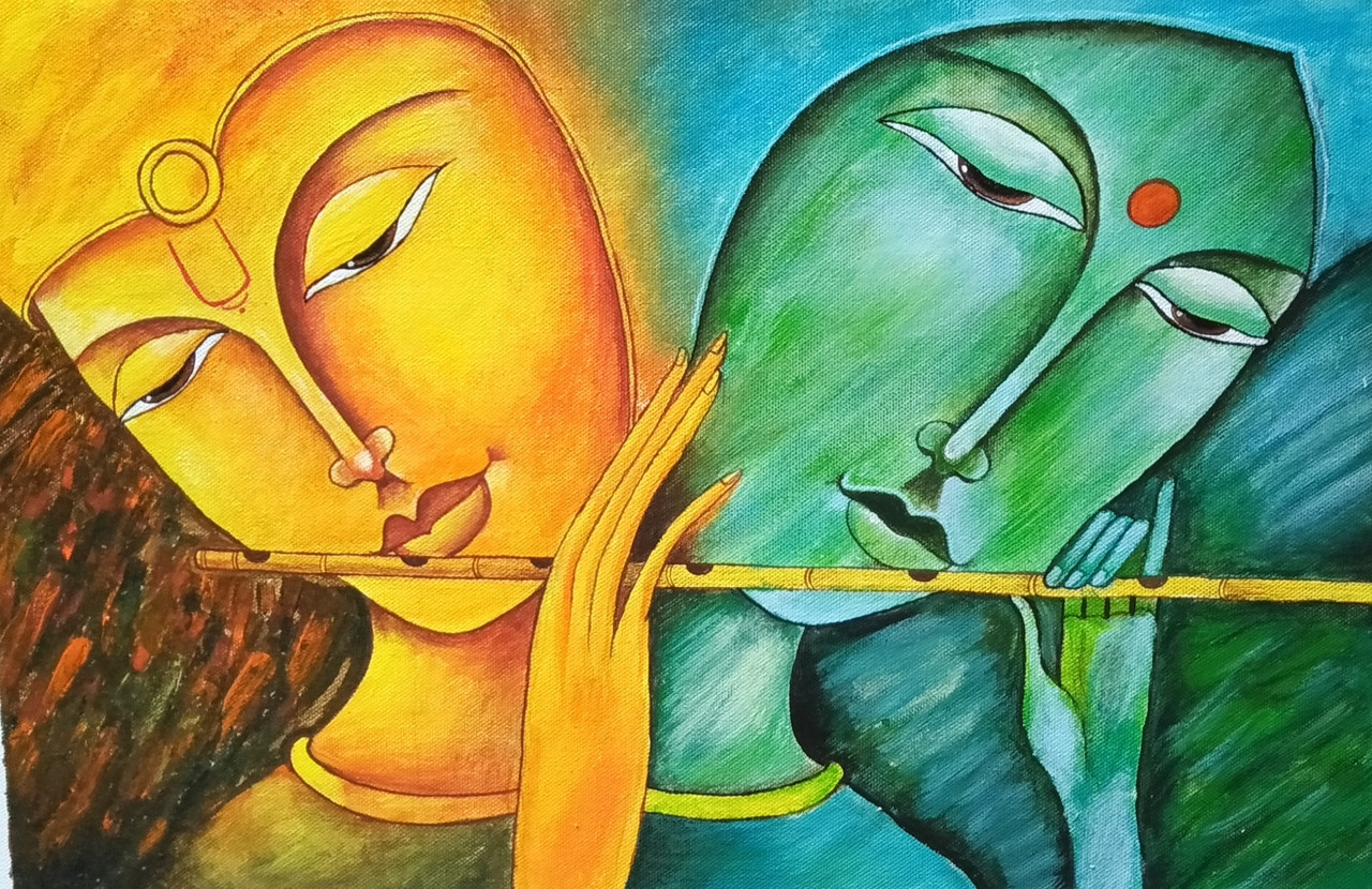 Painting of lord krishna and radha (ART_6189_35581) - Handpainted Art  Painting - 18in X 12in