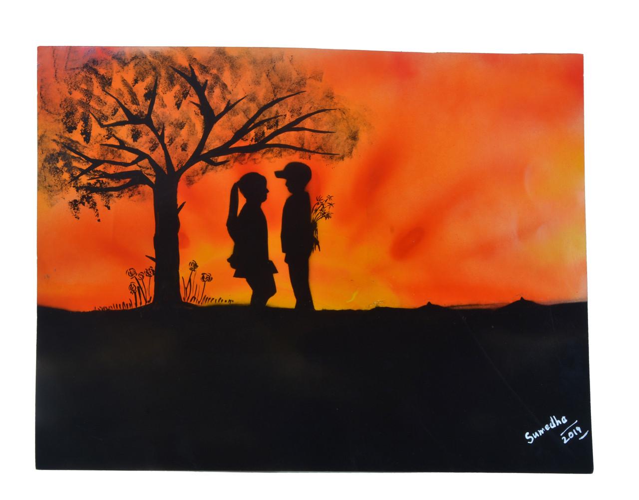 Buy Love Blushes Under Sunset Handmade Painting By Sumedha Arora