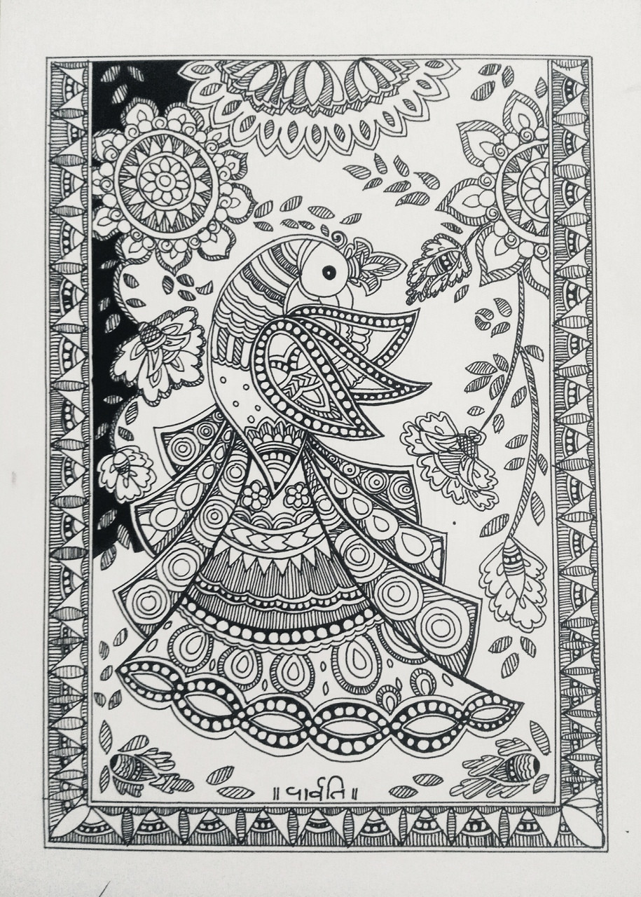 Beautiful madhubani peacock drawing (ART_6074_35079) - Handpainted Art  Painting - 8in X 11in