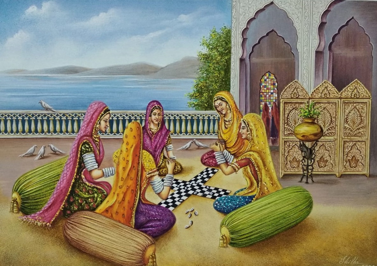 Game of Chaupar (ART_6428_37078) - Handpainted Art Painting - 14in X 10in