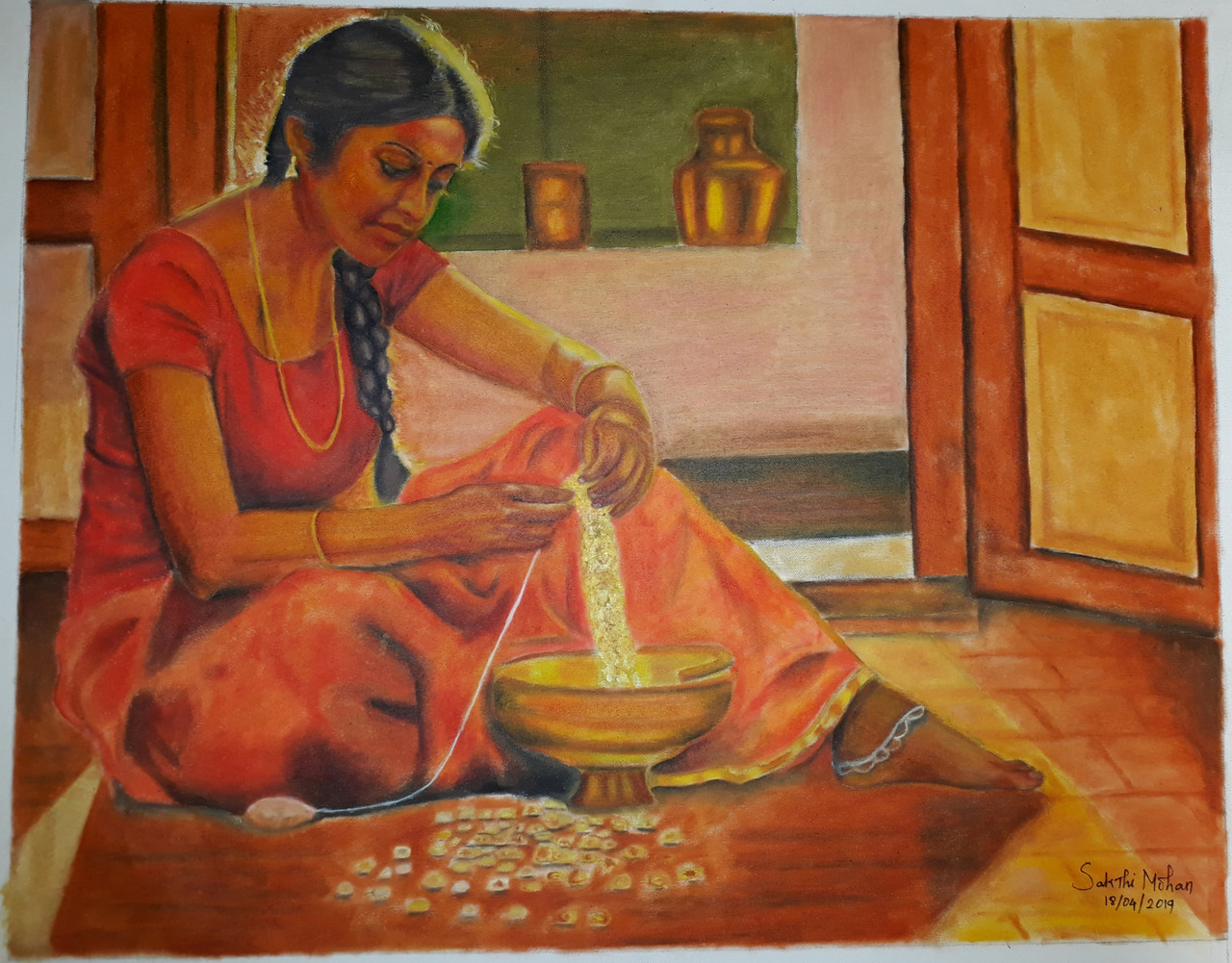 Indian Woman Making Garland Of Flower Art 6071 36917 Handpainted Art Painting 25in X 20in