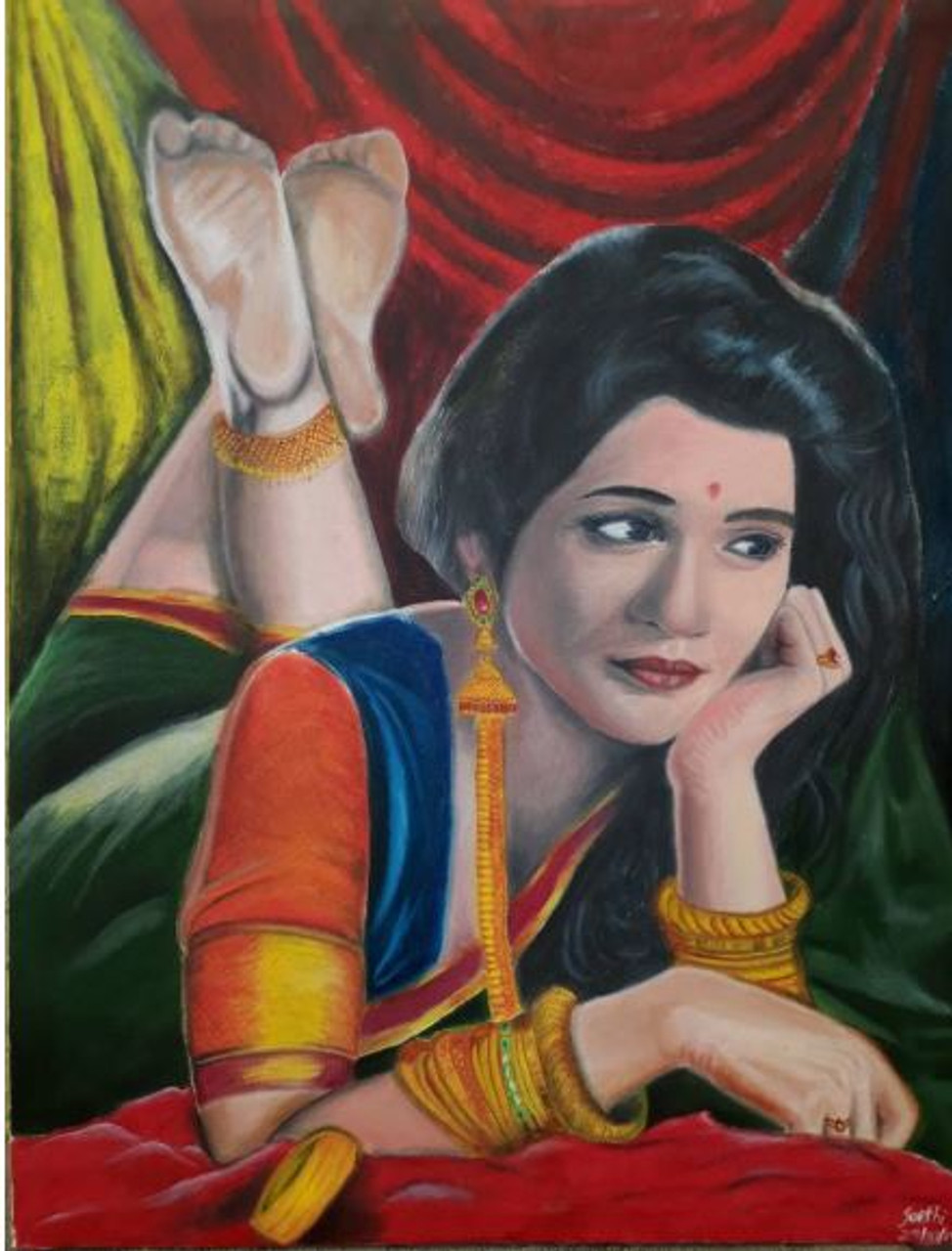 An Indian Woman Thinking Of Laying Down Art 6071 35069 Handpainted Art Painting 21in X 26in