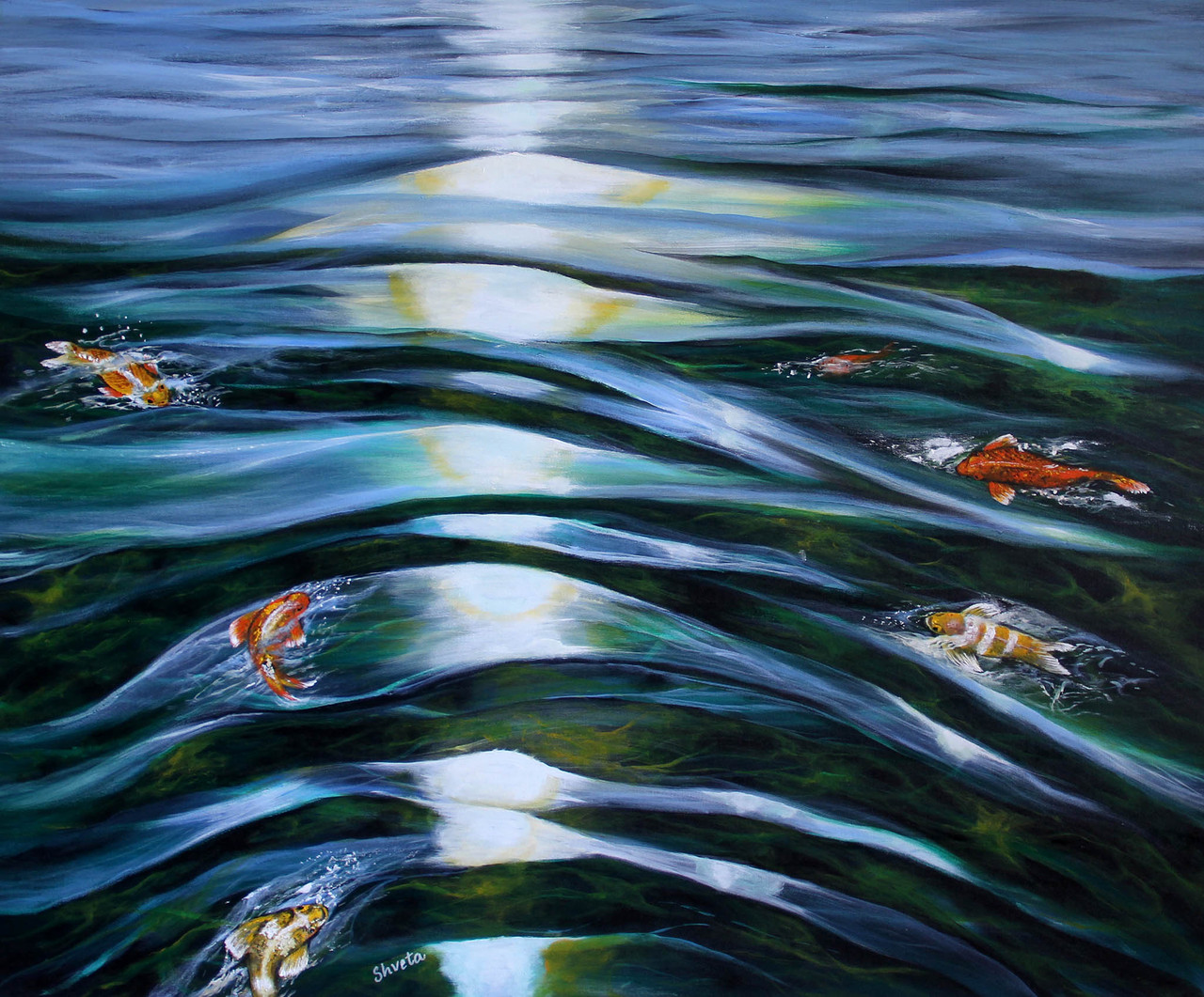 Koi Fish in a Pond (ART_6584_38113) - Handpainted Art Painting - 36in X 30in