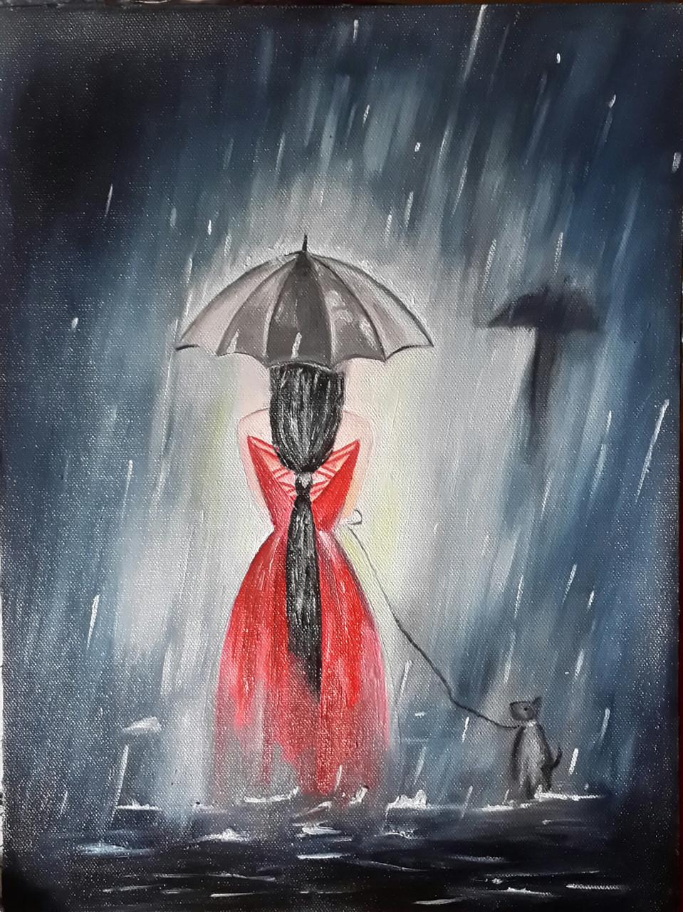 Lady walking in rain handmade oil painting on canvas ART 10 10    Handpainted Art Painting   10in X 10in