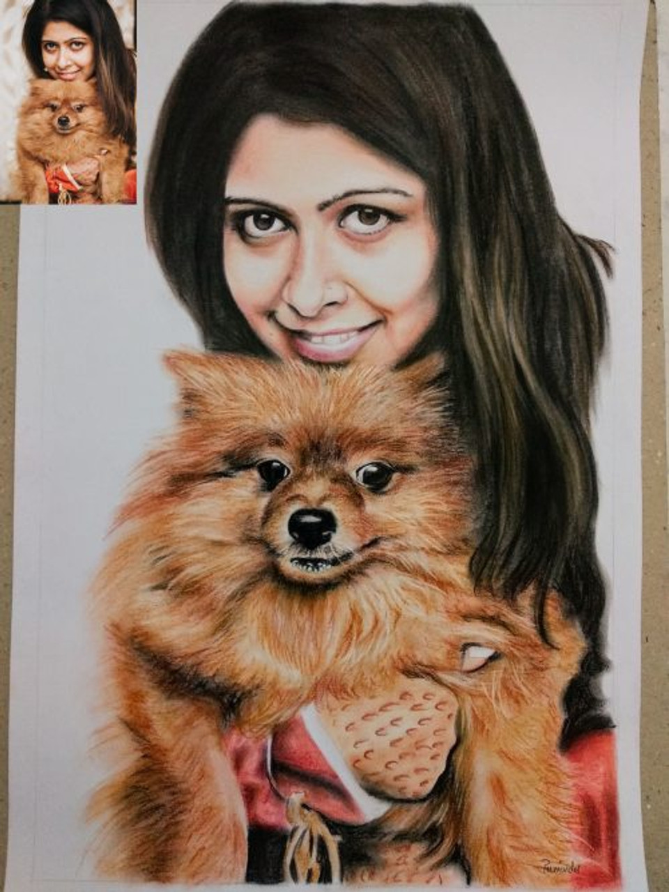 Colored Pencil Sketch Handmade Portrait