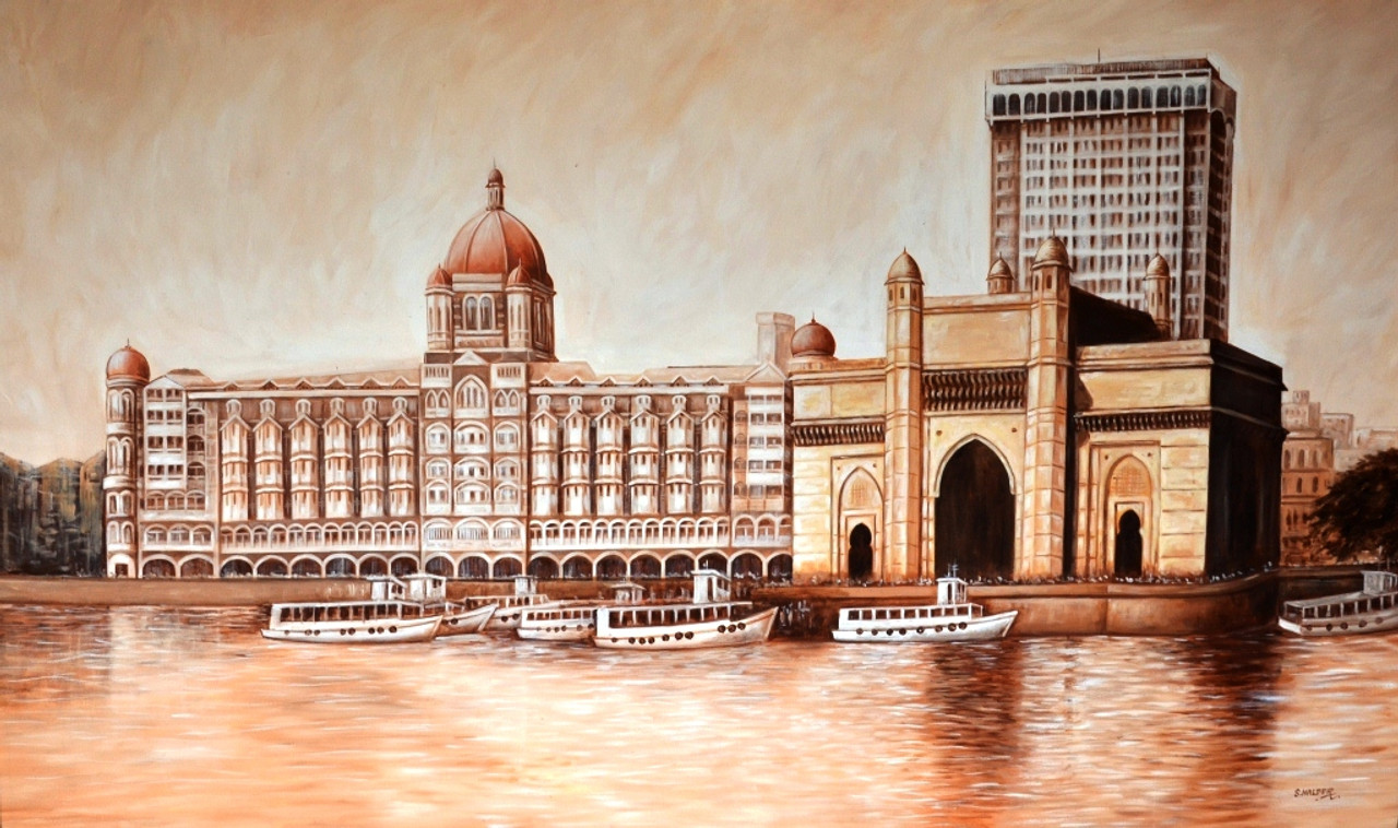 Gateway of India (ART_6730_39012) - Handpainted Art Painting - 60in X 36in