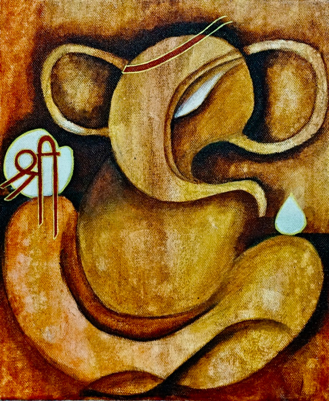 Abstract Ganpati Art 6491 37337 Handpainted Art Painting 10in X 12in Framed