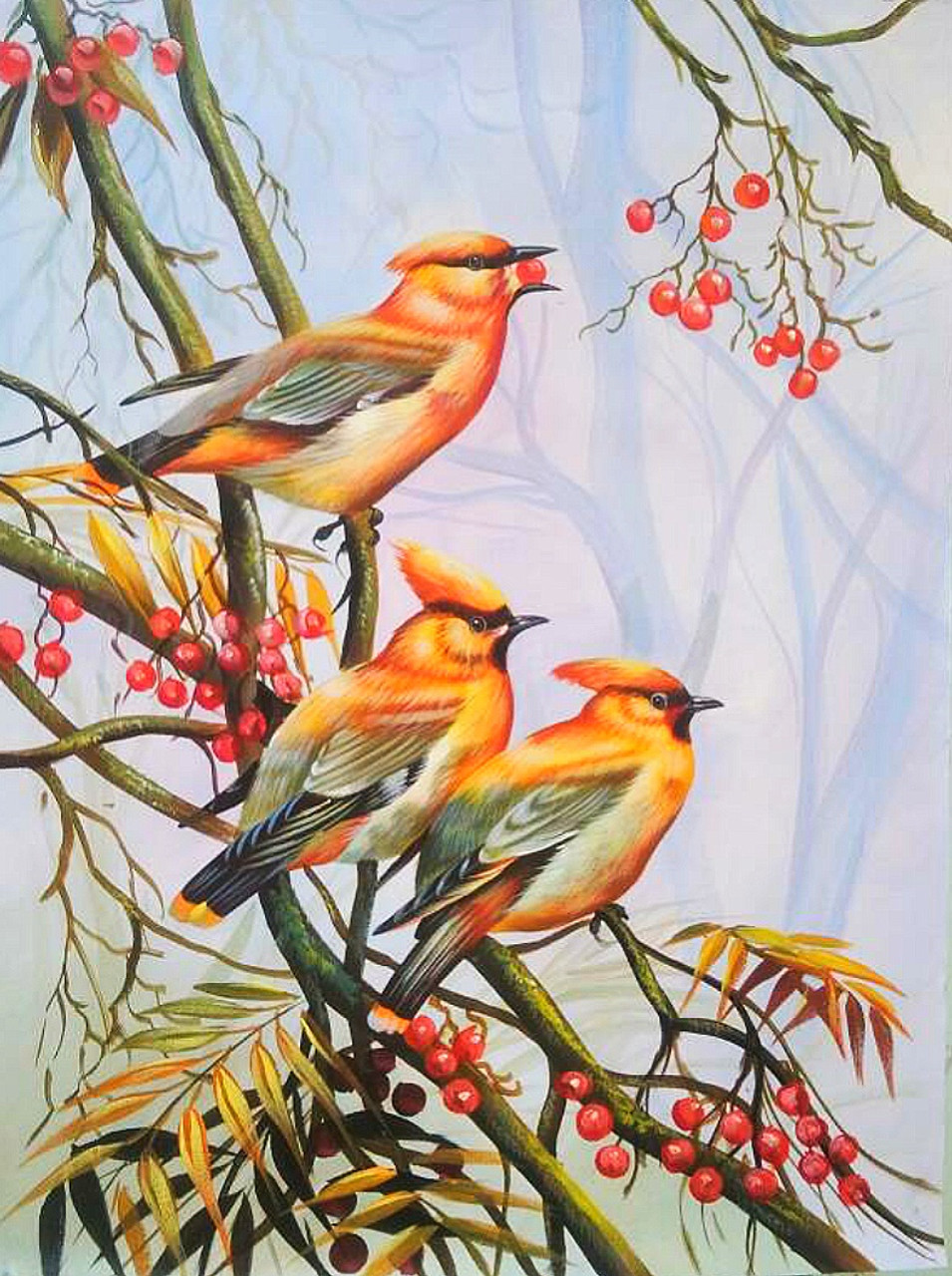 Birds painting (ART_6706_39507) - Handpainted Art Painting - 24in X 36in