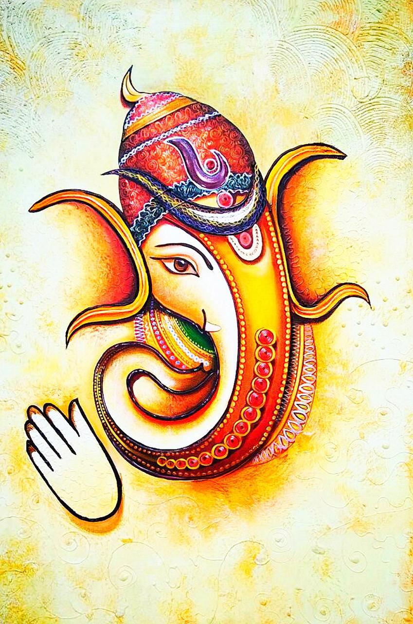 Ganesha Painting Art 6706 39490 Handpainted Art Painting 24in X 36in