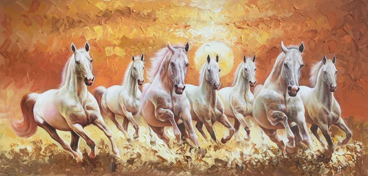 Buy 7 Running Horses Painting Handmade Painting By Kuldeep Singh Code Art 6706 39582 Paintings For Sale Online In India