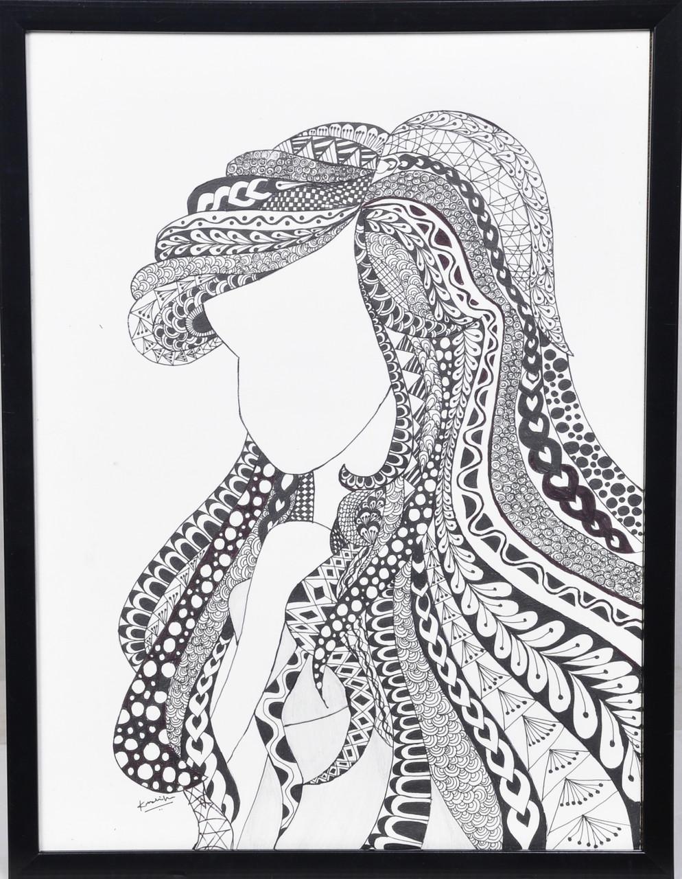 Zentangle angel handmade artwork art 6833 39637 handpainted art painting 12in x 16in