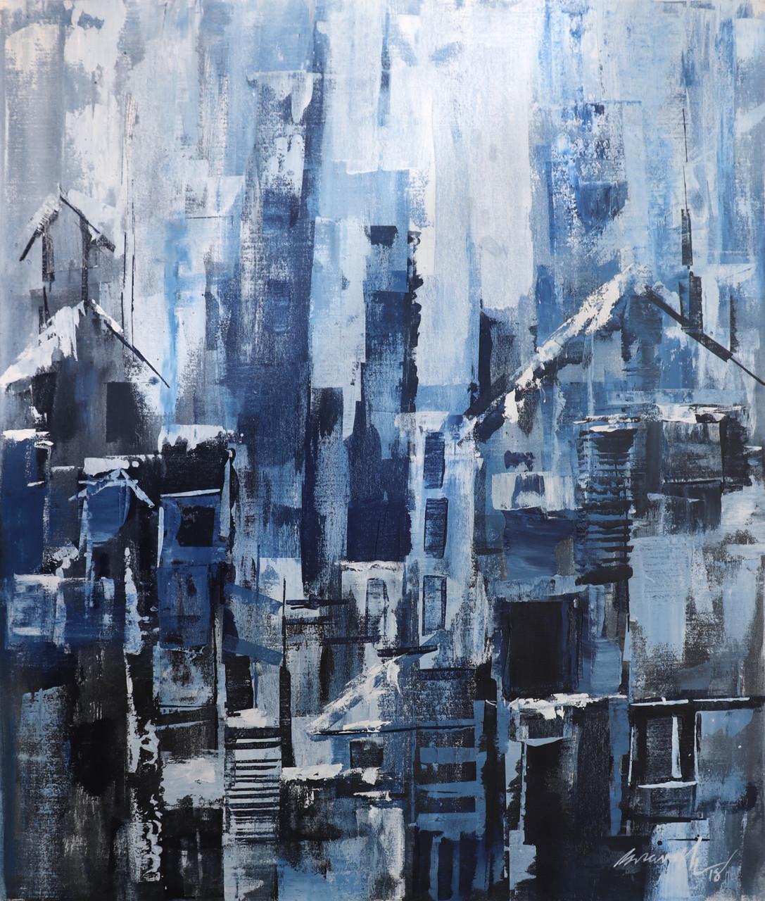 Winter season (ART_1380_39796) - Handpainted Art Painting - 38in X 45in