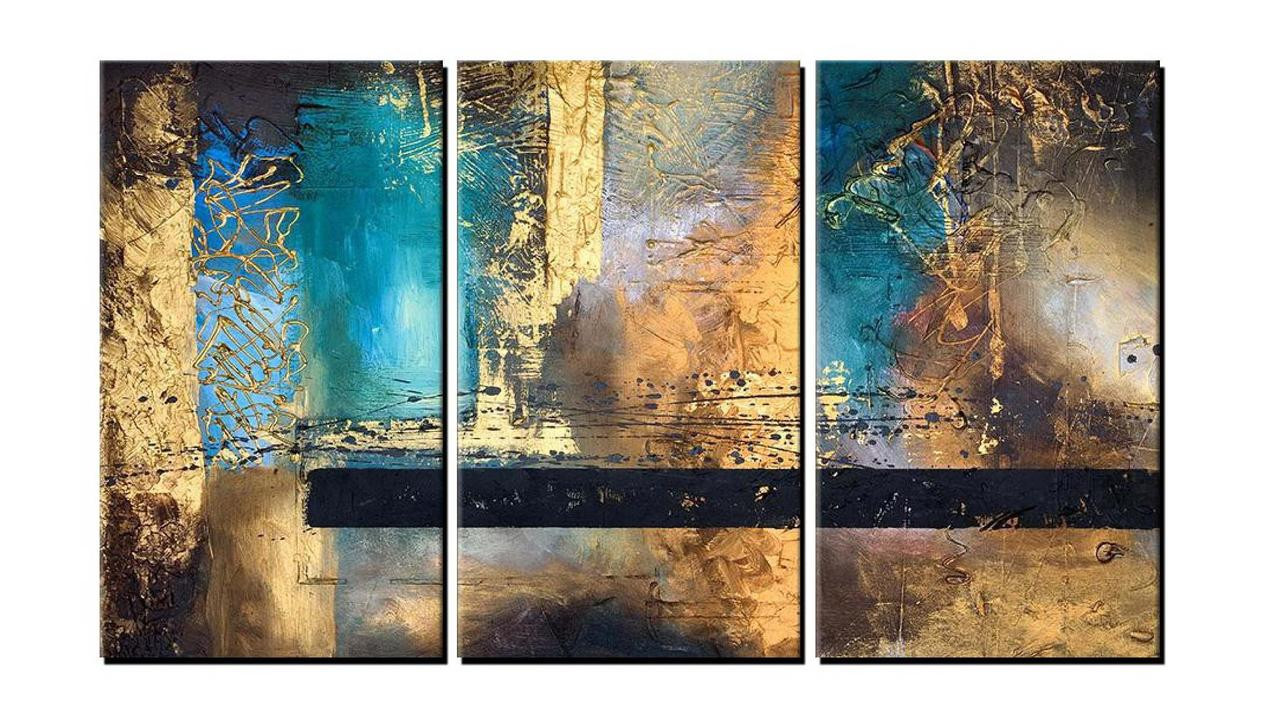 The Golden Abstract Handpainted Art Painting 48in X 32in