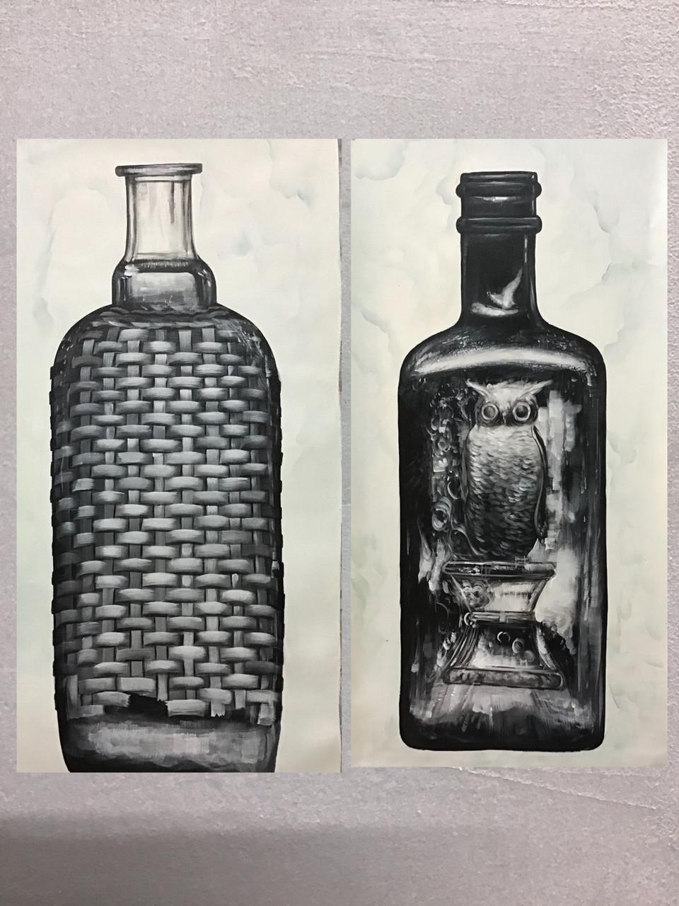 Buy Bottle Painting Handmade Painting By Kuldeep Singh Code Art 6706 41323 Paintings For Sale Online In India