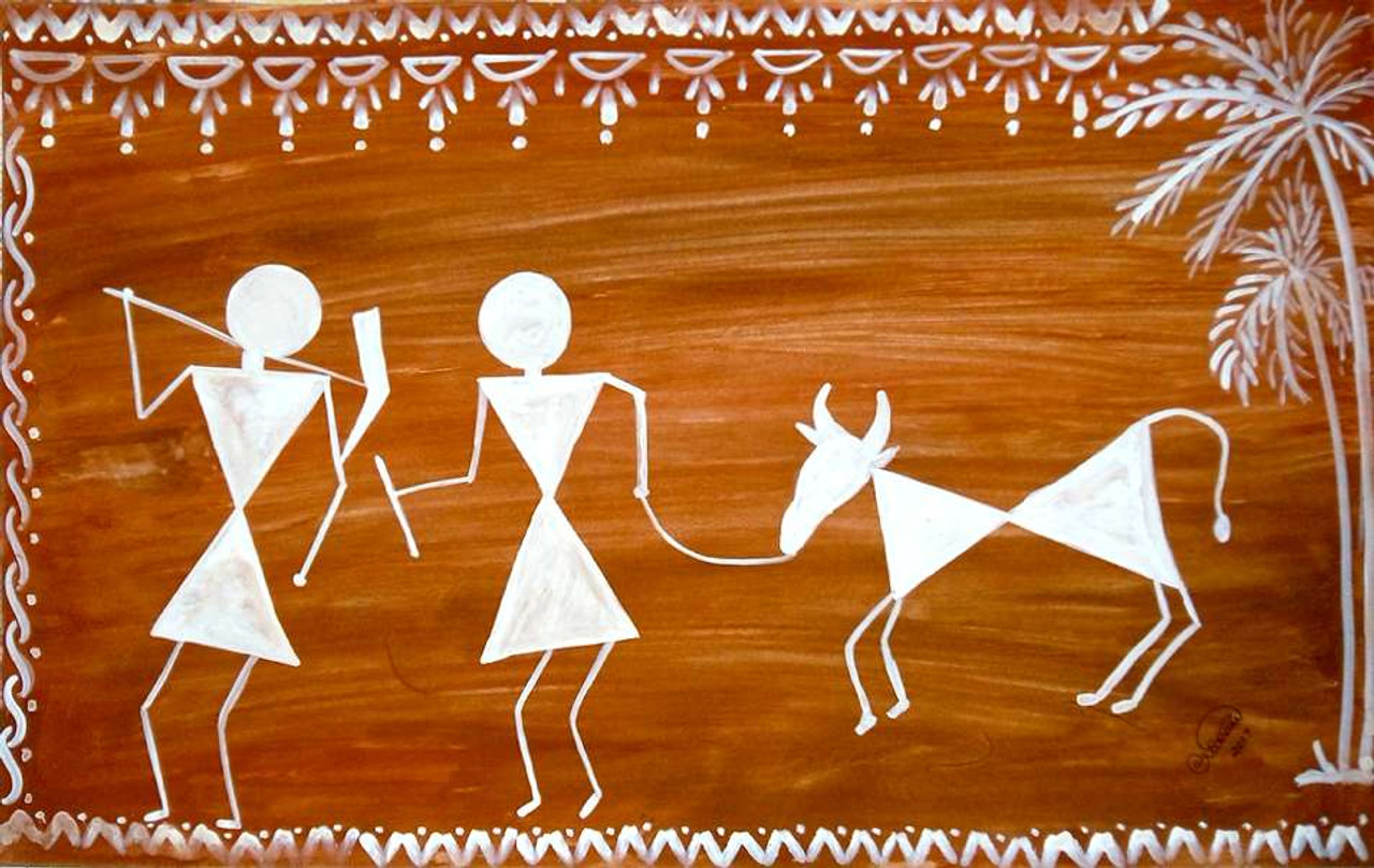 Buy Warli Art Farmers Handmade Painting By Aarathi Manikandan Code Art 1403 42133 Paintings For Sale Online In India
