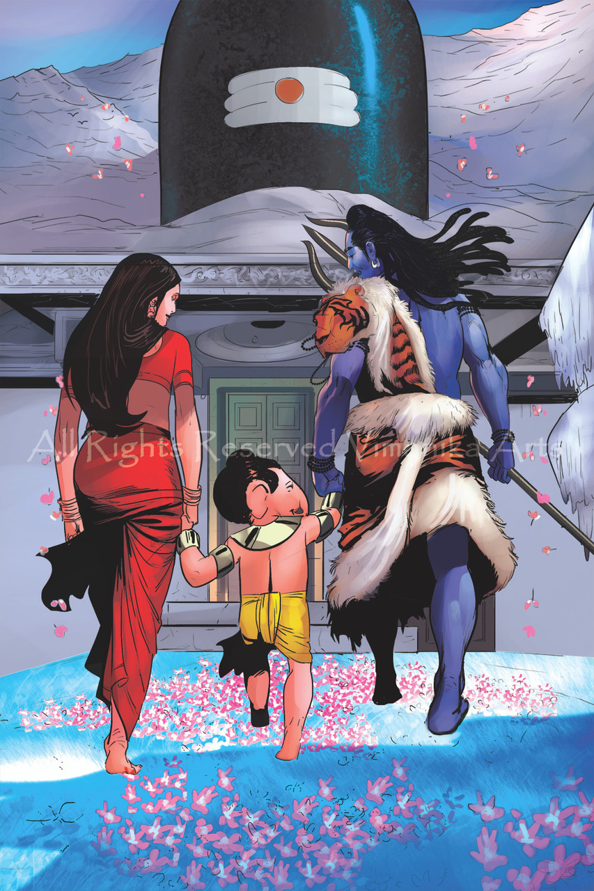 Buy Shiva Parvati Ganesh Canvas Art Print By Vimanika Arts Code Prt 6900 42582 Prints For Sale Online In India