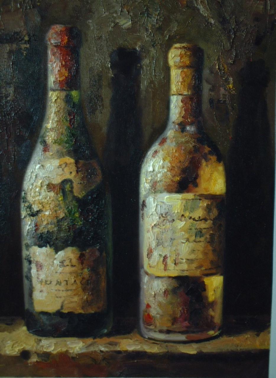 Antique Wine - Handpainted Art Painting - 24in X 48in