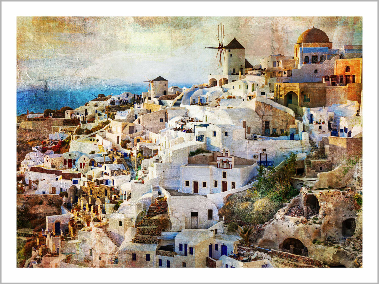 Cityscape Sunset In Santorini Eco Friendly Odorless Canvas Print Prt 7026 41666 Canvas Art Print 35in X 26in