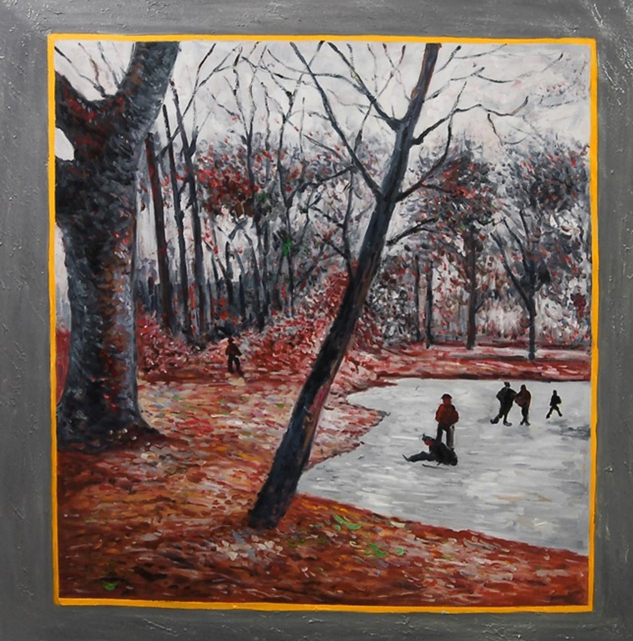Paul Gaughnin Handpainted Art Painting 34in X 34in Framed