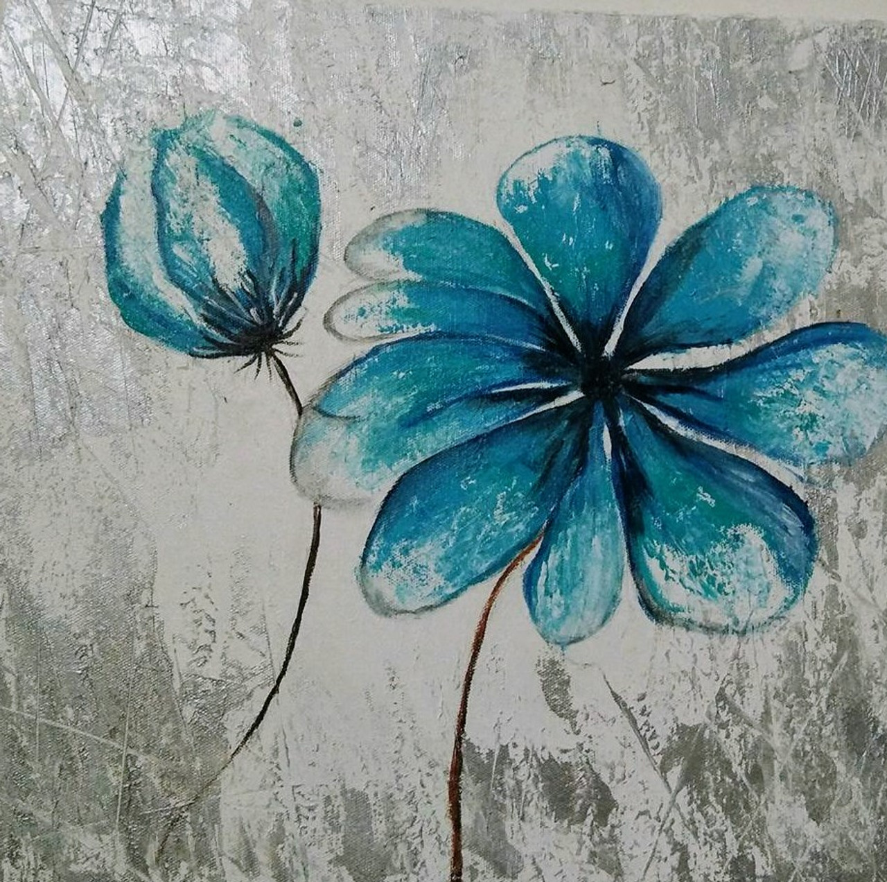 Buy A Beautiful Snow Valley Blue Flower Handmade Painting By Manjusha Thokal Code Art 3719 44128 Paintings For Sale Online In India