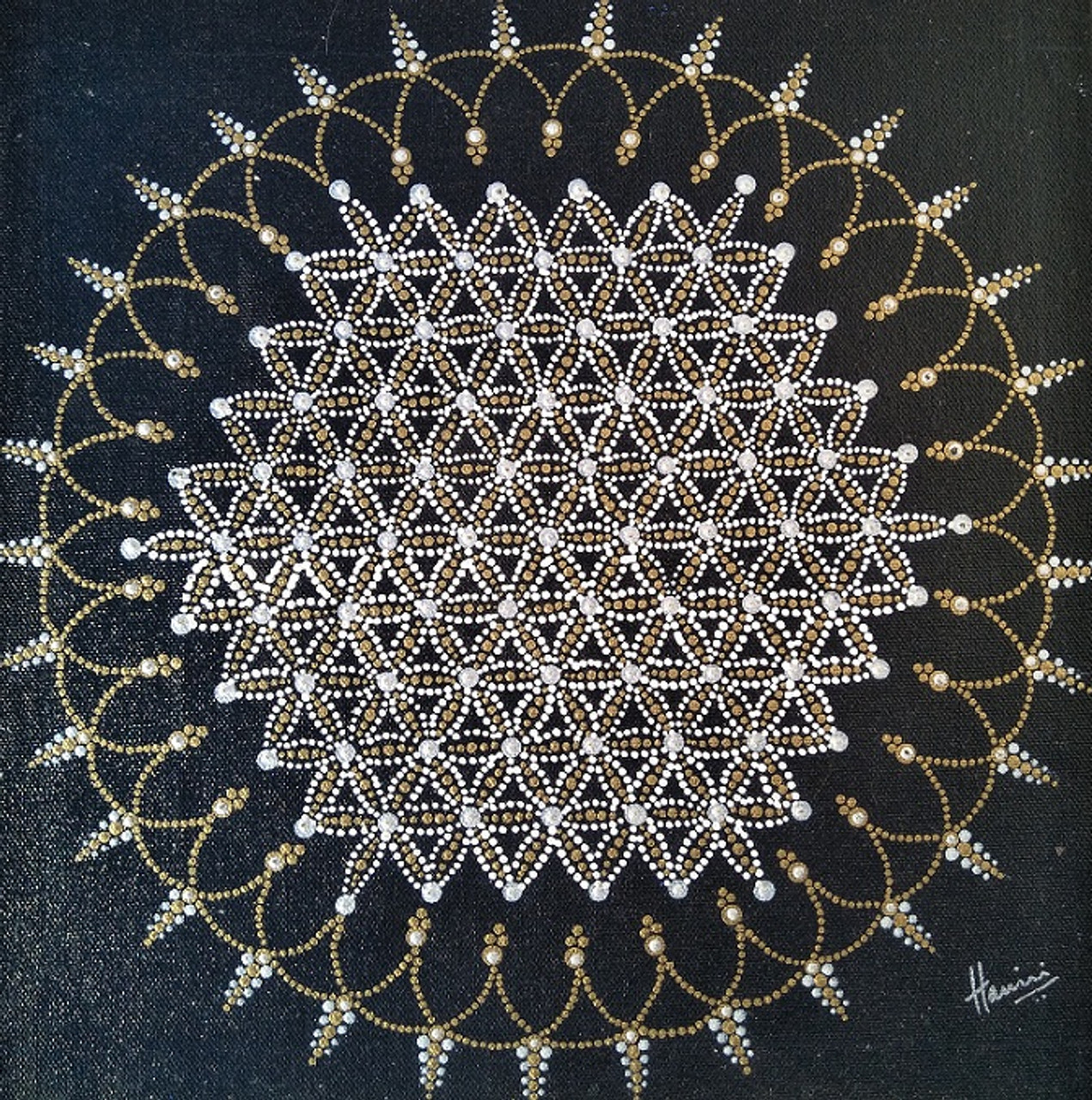 Buy Flower Of Life Mandala Handmade Painting By Harini Jagadish Jagadish Code Art 5398 44397 Paintings For Sale Online In India
